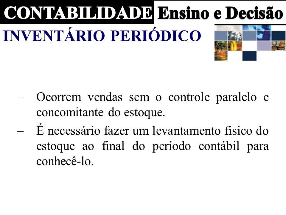 INVENTÁRIO PERIÓDICO –Ocorrem vendas sem o controle paralelo e concomitante do estoque.
