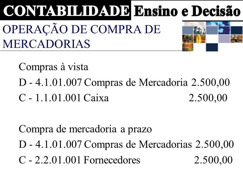 OPERAÇÃO DE COMPRA DE MERCADORIAS Compras à vista D - 4.1.01.007 Compras de Mercadoria 2.500,00 C - 1.1.01.001 Caixa2.500,00 Compra de mercadoria a prazo D - 4.1.01.007 Compras de Mercadorias 2.500,00 C - 2.2.01.001 Fornecedores 2.500,00