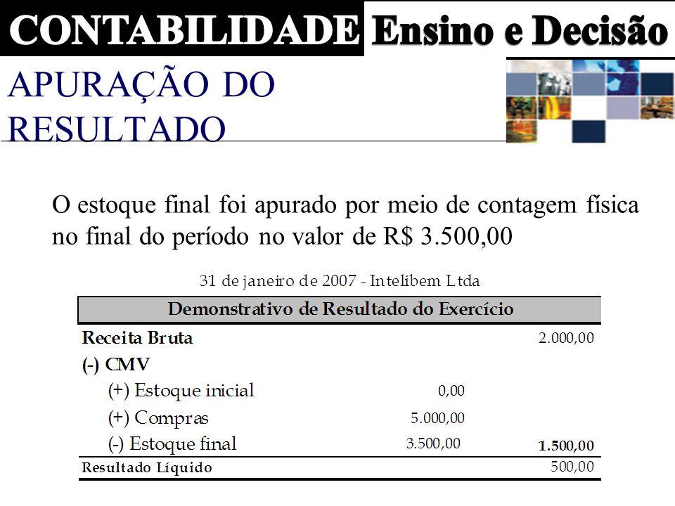 APURAÇÃO DO RESULTADO O estoque final foi apurado por meio de contagem física no final do período no valor de R$ 3.500,00