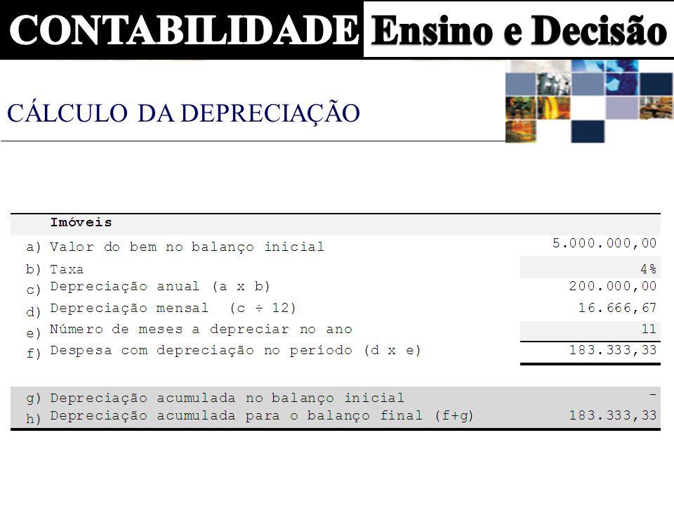 28 de fevereiro de 2007 D- 4.1.02.011 Depreciação 183.333,00 C- 1.3.02.007 Depreciação Acumulada 183.333,33 Depreciação mensal do edifício LANÇAMENTO DA DEPRECIAÇÃO
