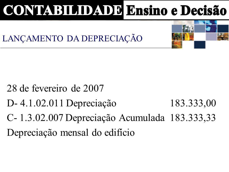 28 de fevereiro de 2007 D- 4.1.02.011 Depreciação 183.333,00 C- 1.3.02.007 Depreciação Acumulada 183.333,33 Depreciação mensal do edifício LANÇAMENTO
