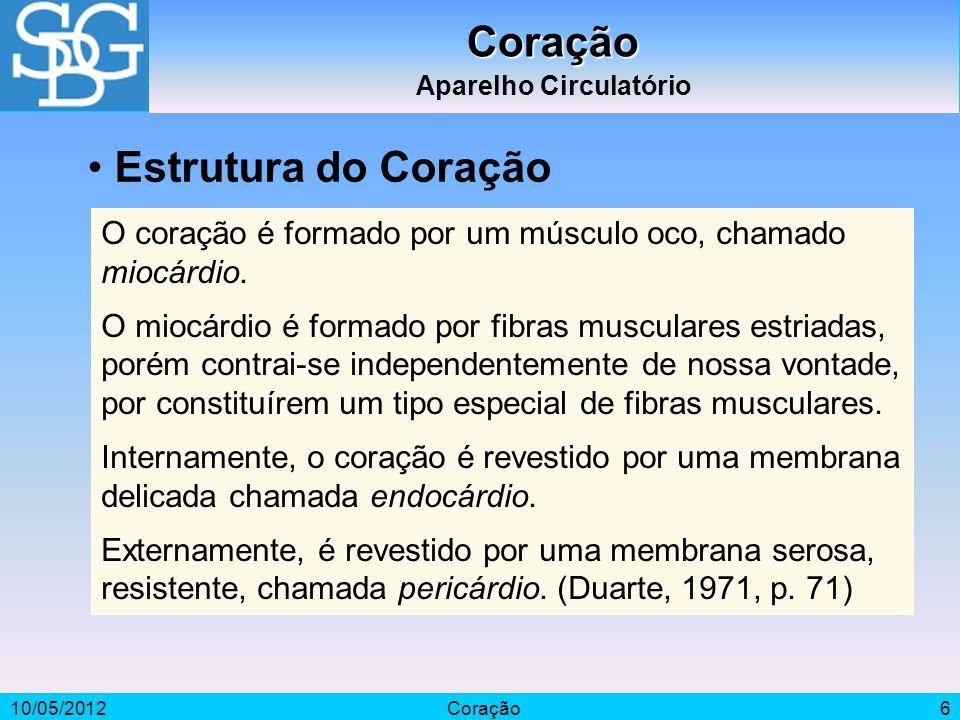10/05/2012Coração6 Coração Aparelho Circulatório O coração é formado por um músculo oco, chamado miocárdio. O miocárdio é formado por fibras musculare