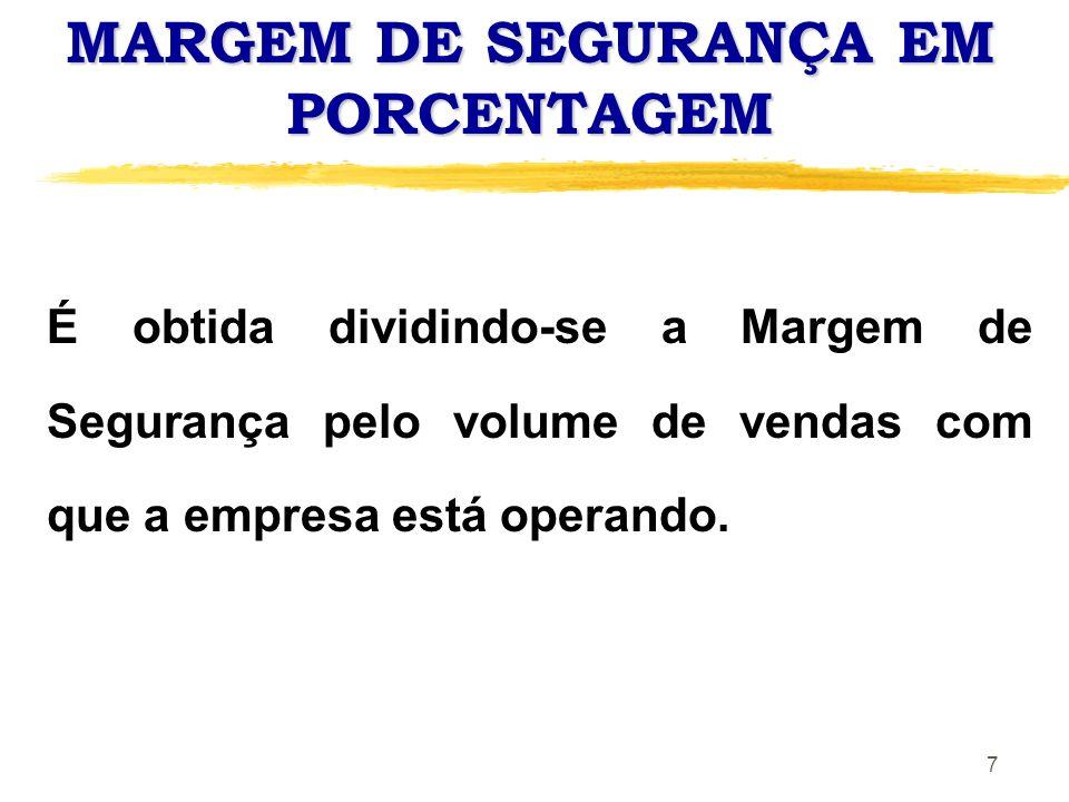 8 MARGEM DE SEGURANÇA OPERACIONAL MSO = Volume Atual - PEC (q) X 100 Volume Atual