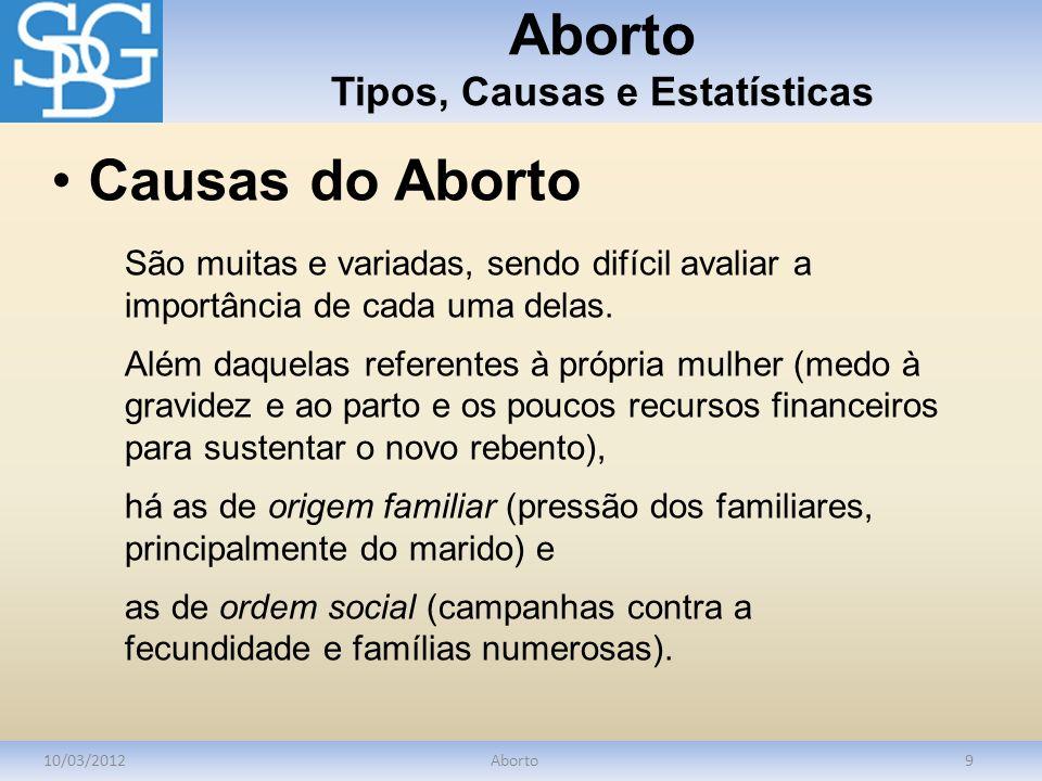 Aborto Tipos, Causas e Estatísticas 10/03/2012Aborto9 São muitas e variadas, sendo difícil avaliar a importância de cada uma delas. Além daquelas refe