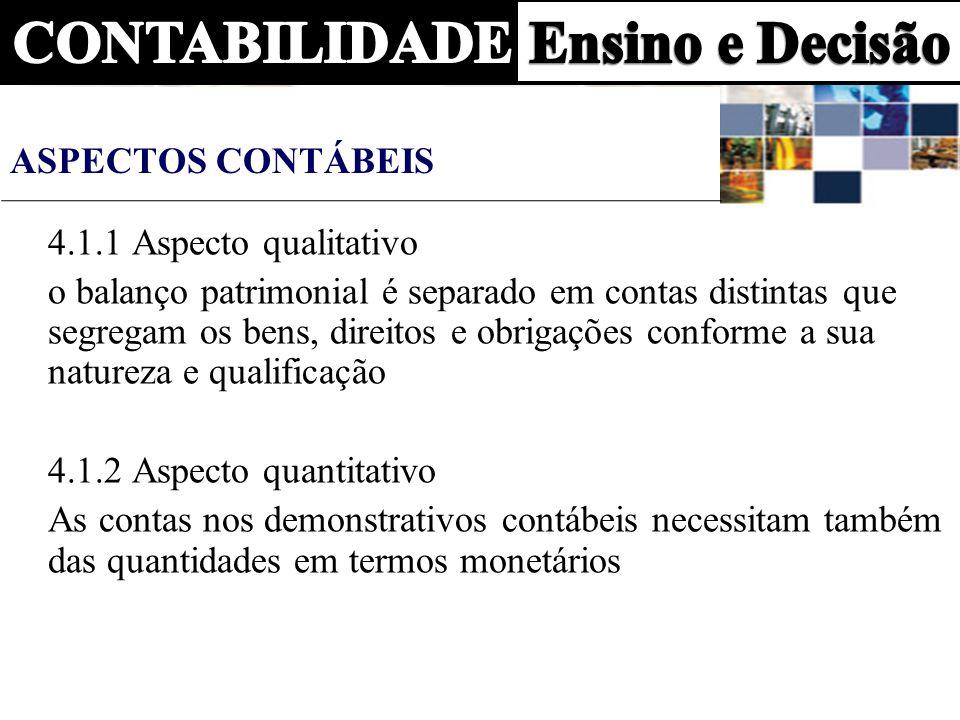 ASPECTOS CONTÁBEIS 4.1.1 Aspecto qualitativo o balanço patrimonial é separado em contas distintas que segregam os bens, direitos e obrigações conforme