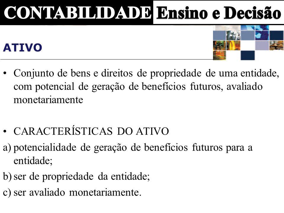 ATIVO Conjunto de bens e direitos de propriedade de uma entidade, com potencial de geração de benefícios futuros, avaliado monetariamente CARACTERÍSTI