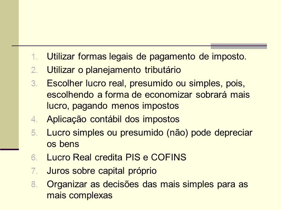 1. Utilizar formas legais de pagamento de imposto. 2. Utilizar o planejamento tributário 3. Escolher lucro real, presumido ou simples, pois, escolhend