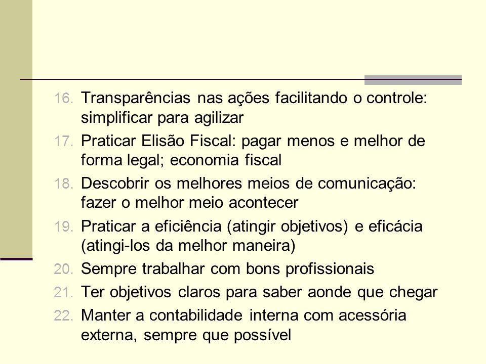 16. Transparências nas ações facilitando o controle: simplificar para agilizar 17. Praticar Elisão Fiscal: pagar menos e melhor de forma legal; econom