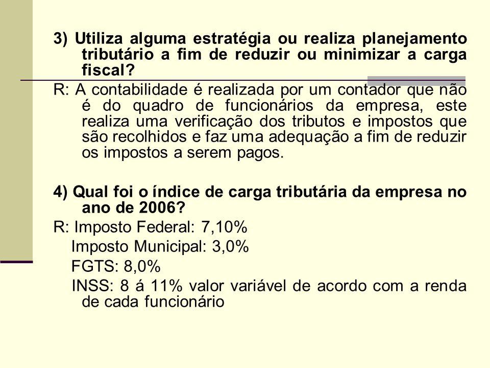 3) Utiliza alguma estratégia ou realiza planejamento tributário a fim de reduzir ou minimizar a carga fiscal? R: A contabilidade é realizada por um co