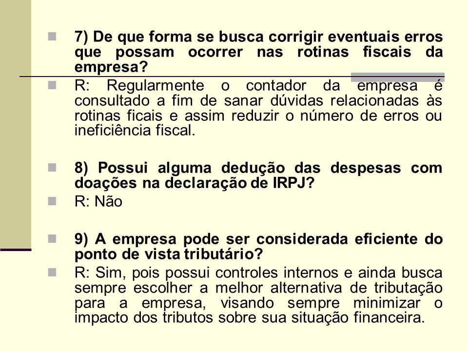 7) De que forma se busca corrigir eventuais erros que possam ocorrer nas rotinas fiscais da empresa? R: Regularmente o contador da empresa é consultad