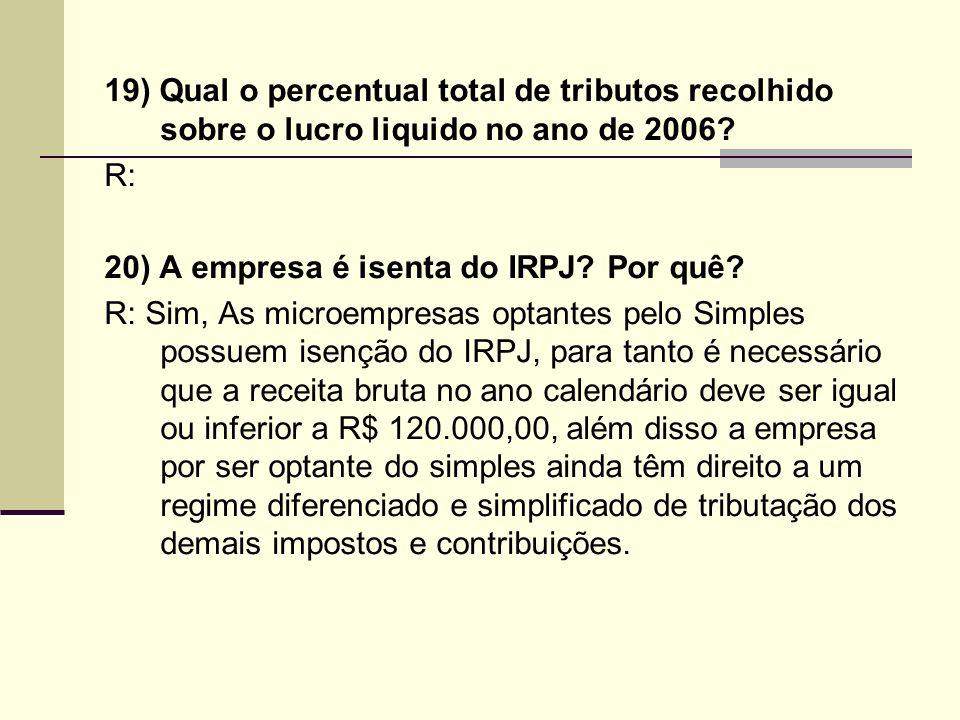 19) Qual o percentual total de tributos recolhido sobre o lucro liquido no ano de 2006? R: 20) A empresa é isenta do IRPJ? Por quê? R: Sim, As microem