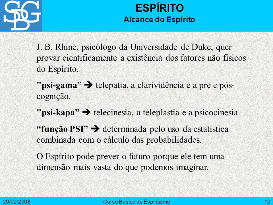 29/02/2008Curso Básico de Espiritismo10ESPÍRITO Alcance do Espírito J.