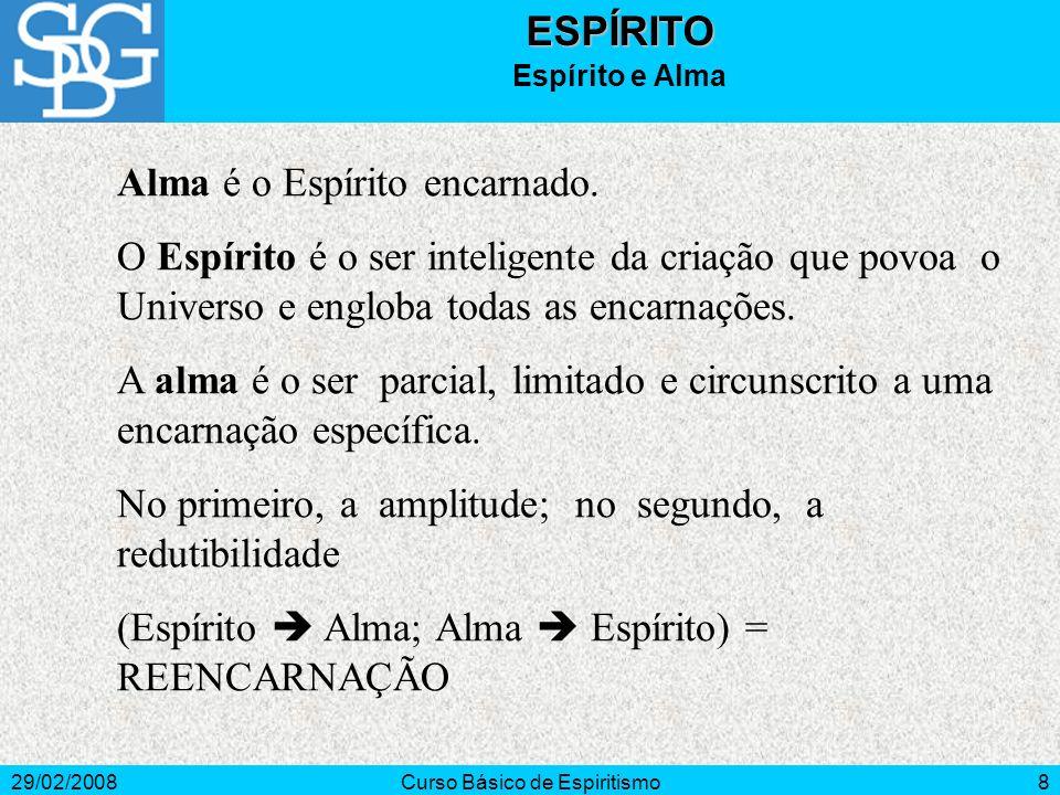 29/02/2008Curso Básico de Espiritismo8ESPÍRITO Espírito e Alma Alma é o Espírito encarnado.