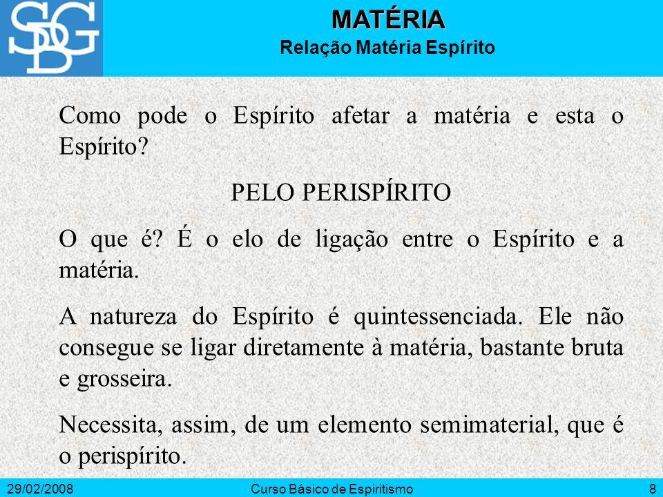 29/02/2008Curso Básico de Espiritismo8MATÉRIA Relação Matéria Espírito Como pode o Espírito afetar a matéria e esta o Espírito? PELO PERISPÍRITO O que