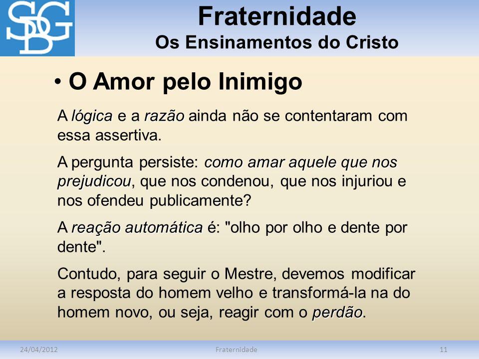 Fraternidade Os Ensinamentos do Cristo 24/04/2012Fraternidade11 lógicarazão A lógica e a razão ainda não se contentaram com essa assertiva. como amar