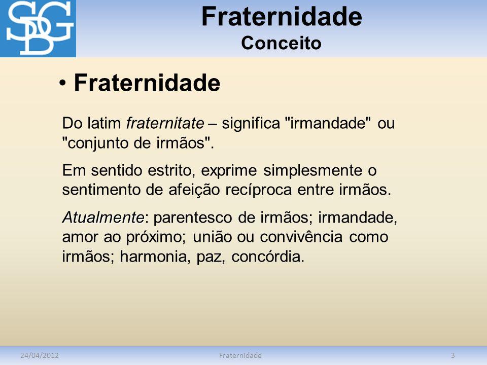 Fraternidade Conceito 24/04/2012Fraternidade3 Do latim fraternitate – significa