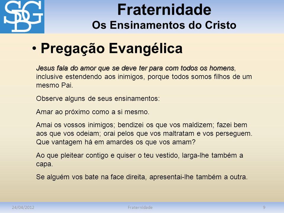 Fraternidade Os Ensinamentos do Cristo 24/04/2012Fraternidade9 Jesus fala do amor que se deve ter para com todos os homens Jesus fala do amor que se d
