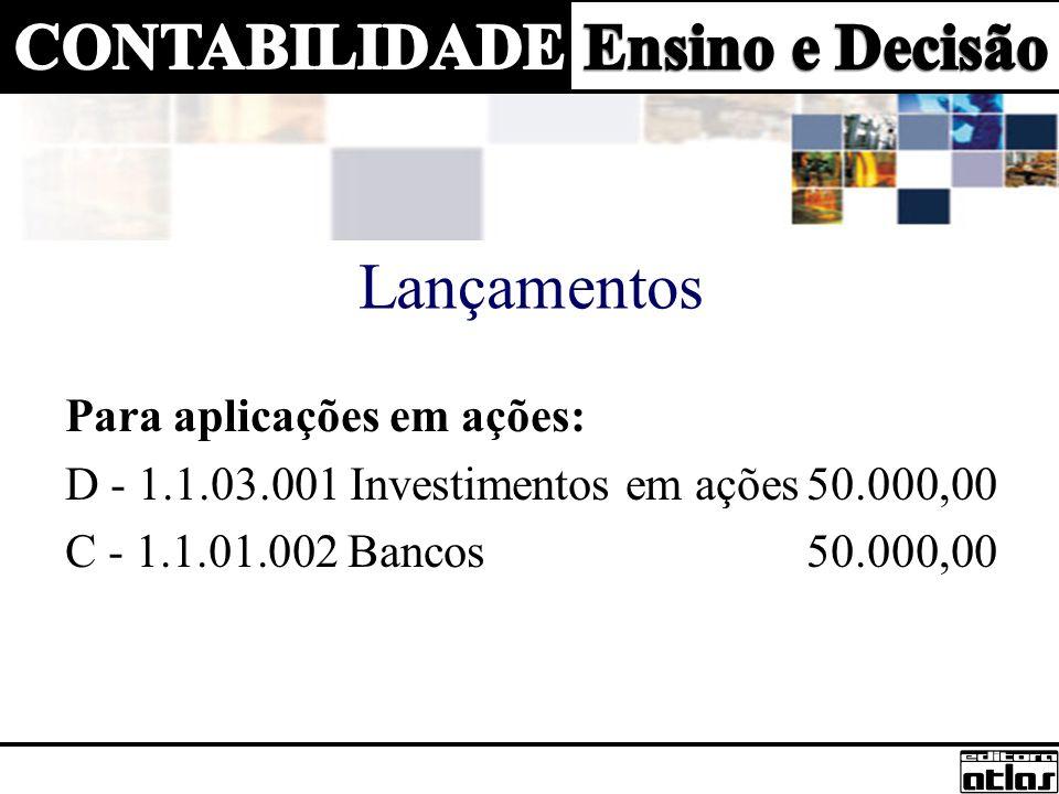 Para o resgate de aplicações em ações: D - 1.1.01.002 Bancos50.000,00 C – 1.1.03.001 Investimentos em ações50.000,00 Contabilização de ganhos nas aplicações: D - 1.1.01.002 Bancos500,00 C - 4.2.01.004 Receitas Investimentos Temp.