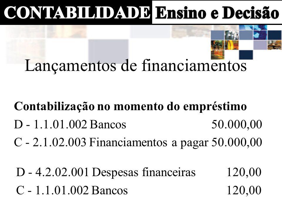 Contabilização dos juros a transcorrer (10 x 508,24 = 5.082,40) D - 2.1.02.004 Juros a transcorrer 5.082,40 C - 2.1.02.002 Financiamentos a pagar 5.082,40