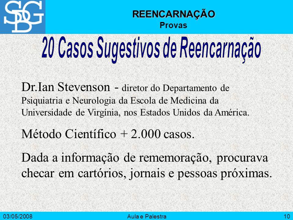 03/05/2008Aula e Palestra10 REENCARNAÇÃO Provas Dr.Ian Stevenson - diretor do Departamento de Psiquiatria e Neurologia da Escola de Medicina da Univer