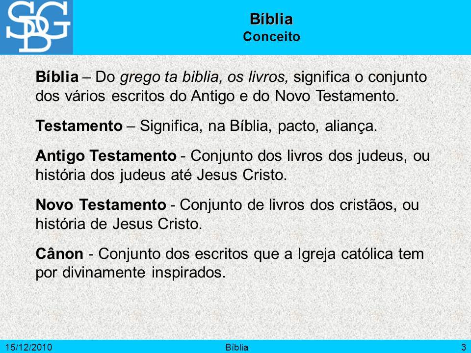 15/12/2010Bíblia3 Bíblia Conceito Bíblia – Do grego ta biblia, os livros, significa o conjunto dos vários escritos do Antigo e do Novo Testamento. Tes