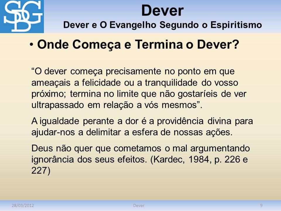 Dever Dever e O Evangelho Segundo o Espiritismo 28/03/2012Dever9 Onde Começa e Termina o Dever? O dever começa precisamente no ponto em que ameaçais a