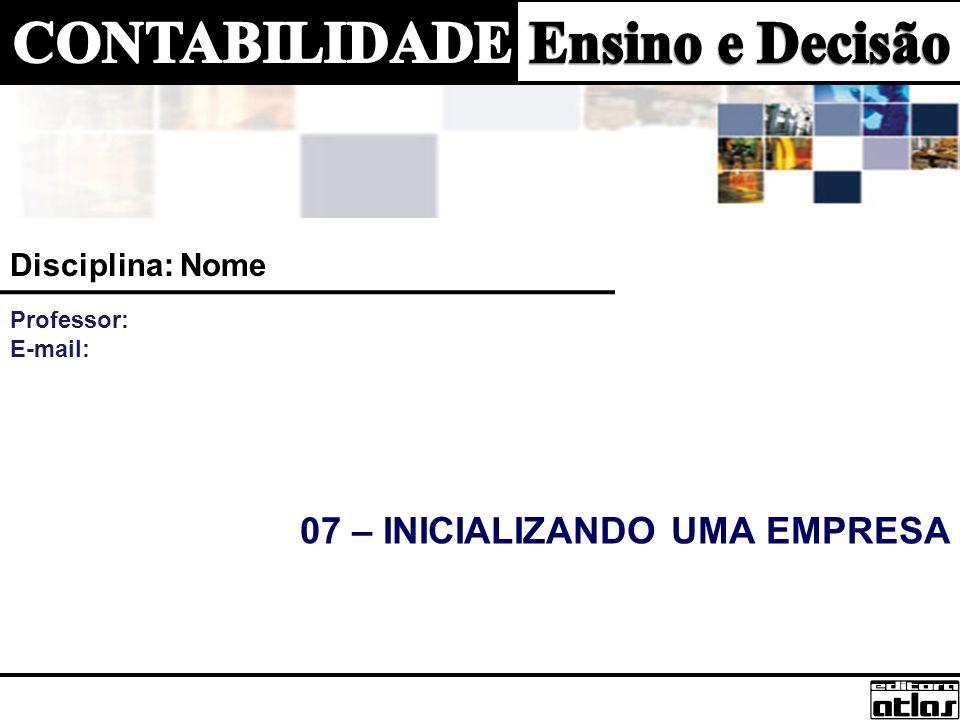 07 – INICIALIZANDO UMA EMPRESA Disciplina: Nome Professor: E-mail: