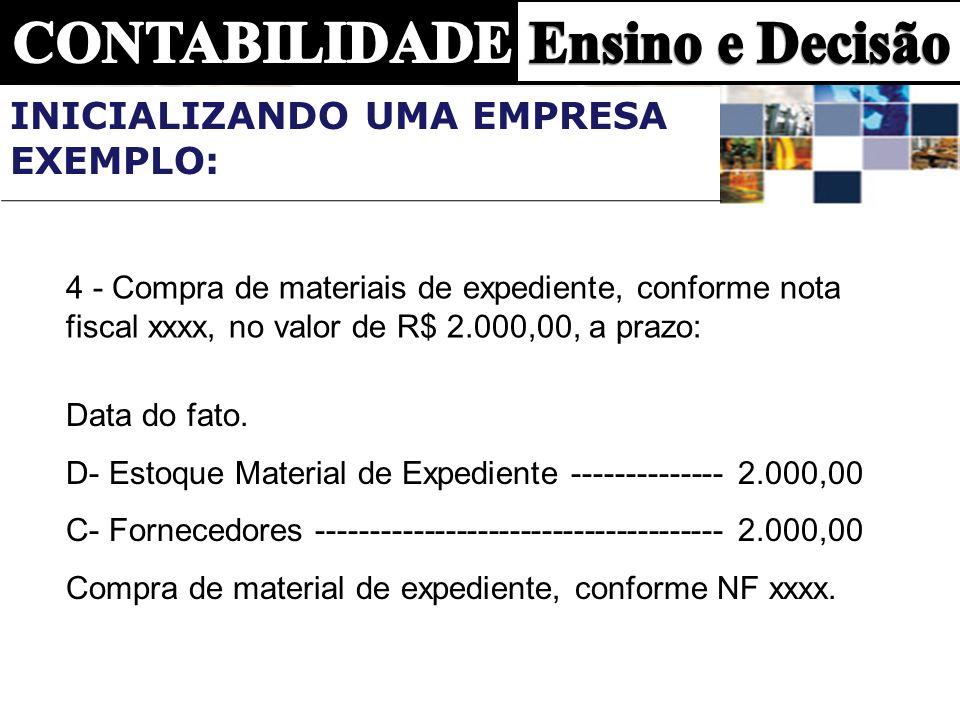 4 - Compra de materiais de expediente, conforme nota fiscal xxxx, no valor de R$ 2.000,00, a prazo: Data do fato. D- Estoque Material de Expediente --