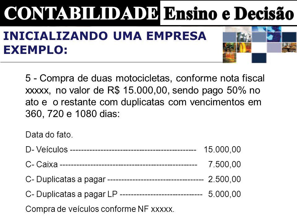 5 - Compra de duas motocicletas, conforme nota fiscal xxxxx, no valor de R$ 15.000,00, sendo pago 50% no ato e o restante com duplicatas com venciment