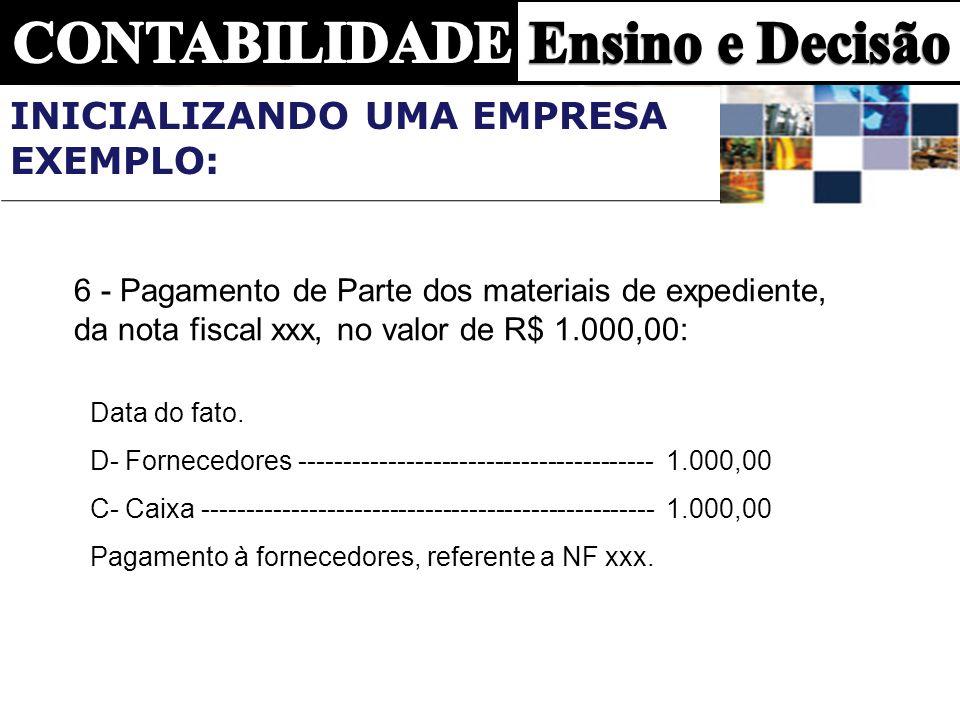 6 - Pagamento de Parte dos materiais de expediente, da nota fiscal xxx, no valor de R$ 1.000,00: Data do fato. D- Fornecedores -----------------------