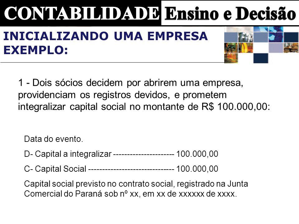 1 - Dois sócios decidem por abrirem uma empresa, providenciam os registros devidos, e prometem integralizar capital social no montante de R$ 100.000,0