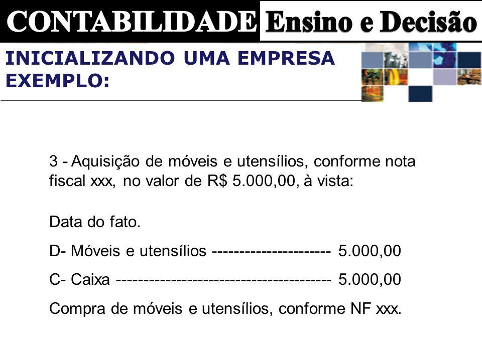 3 - Aquisição de móveis e utensílios, conforme nota fiscal xxx, no valor de R$ 5.000,00, à vista: Data do fato. D- Móveis e utensílios ---------------