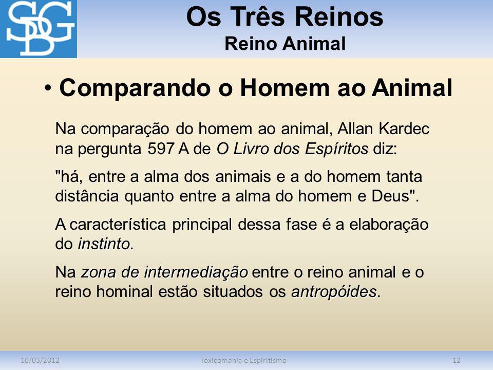 Os Três Reinos Reino Animal 10/03/2012Toxicomania e Espiritismo12 Na comparação do homem ao animal, Allan Kardec na pergunta 597 A de O Livro dos Espí