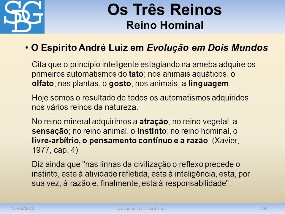 Os Três Reinos Reino Hominal 10/03/2012Toxicomania e Espiritismo14 Cita que o princípio inteligente estagiando na ameba adquire os primeiros automatis