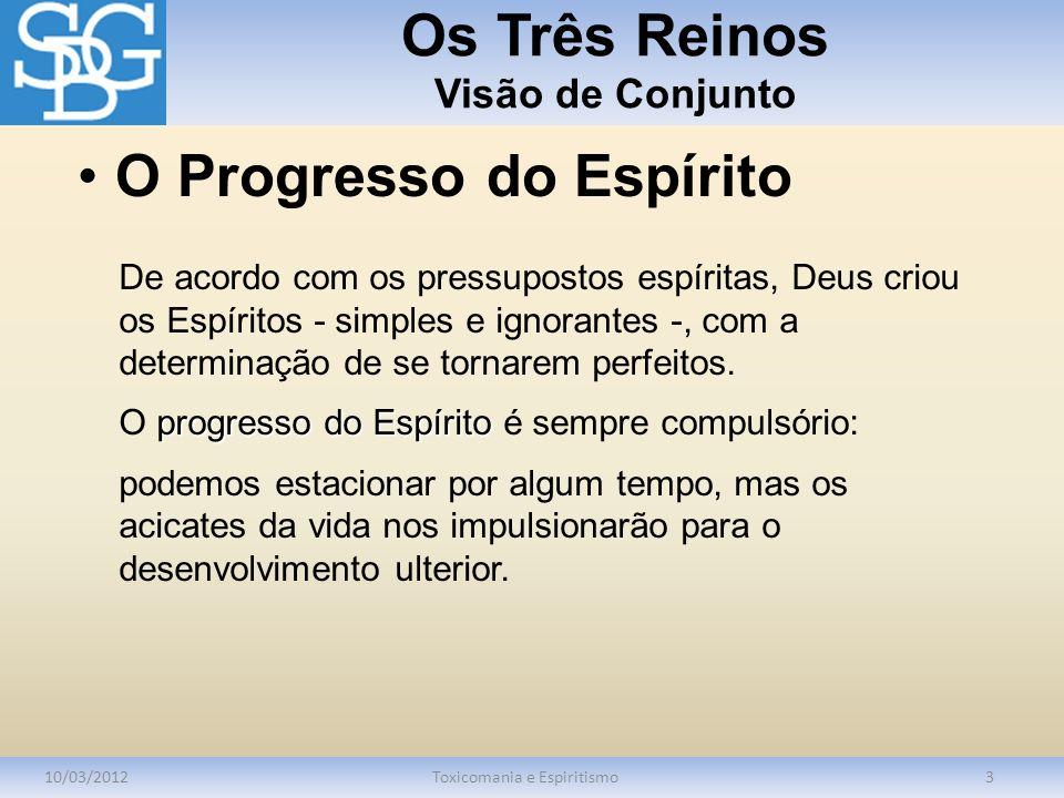 Os Três Reinos Visão de Conjunto 10/03/2012Toxicomania e Espiritismo3 De acordo com os pressupostos espíritas, Deus criou os Espíritos - simples e ignorantes -, com a determinação de se tornarem perfeitos.