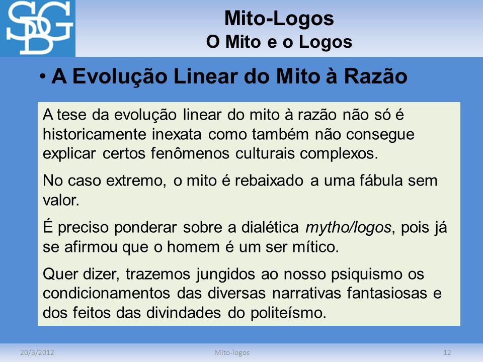 Mito-Logos O Mito e o Logos 20/3/2012Mito-logos12 A Evolução Linear do Mito à Razão A tese da evolução linear do mito à razão não só é historicamente