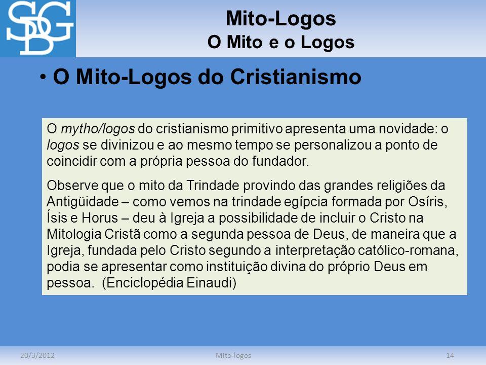 Mito-Logos O Mito e o Logos 20/3/2012Mito-logos14 O Mito-Logos do Cristianismo O mytho/logos do cristianismo primitivo apresenta uma novidade: o logos
