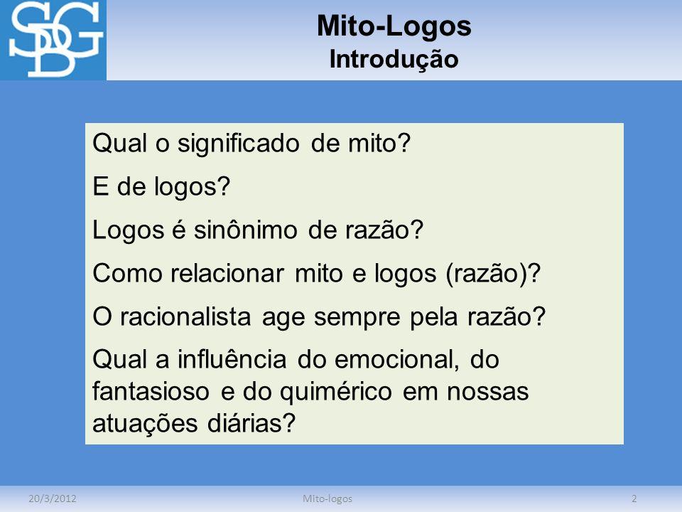Mito-Logos Introdução 20/3/2012Mito-logos2 Qual o significado de mito? E de logos? Logos é sinônimo de razão? Como relacionar mito e logos (razão)? O