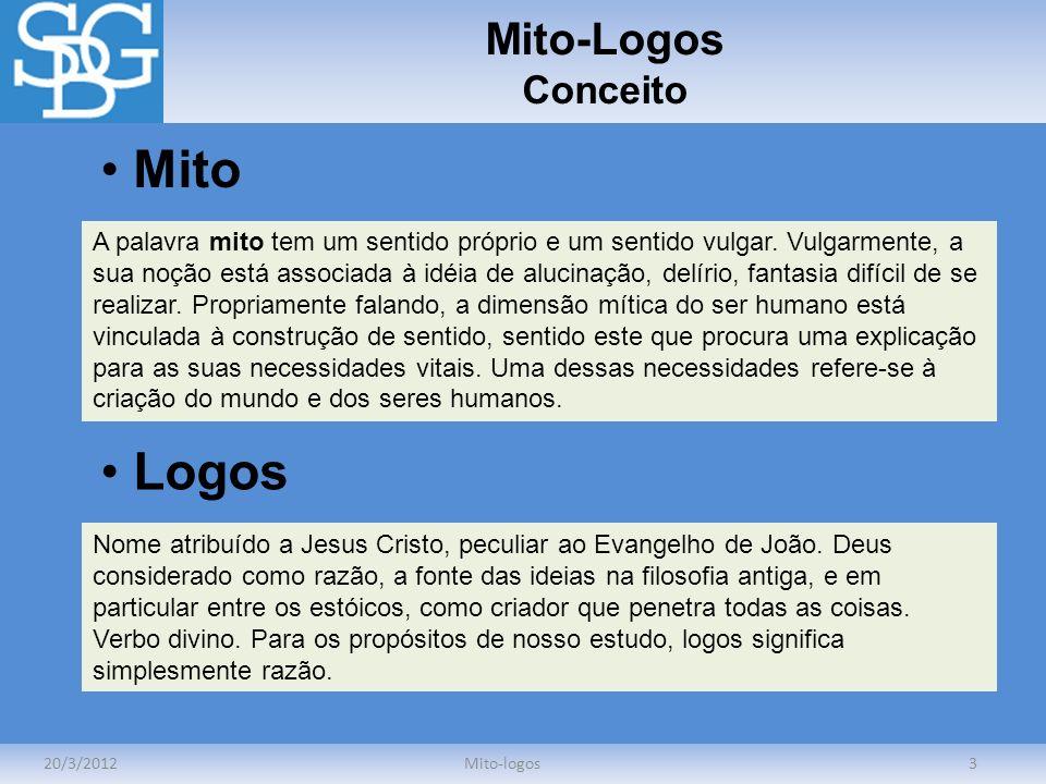 Mito-Logos Conceito 20/3/2012Mito-logos3 A palavra mito tem um sentido próprio e um sentido vulgar. Vulgarmente, a sua noção está associada à idéia de