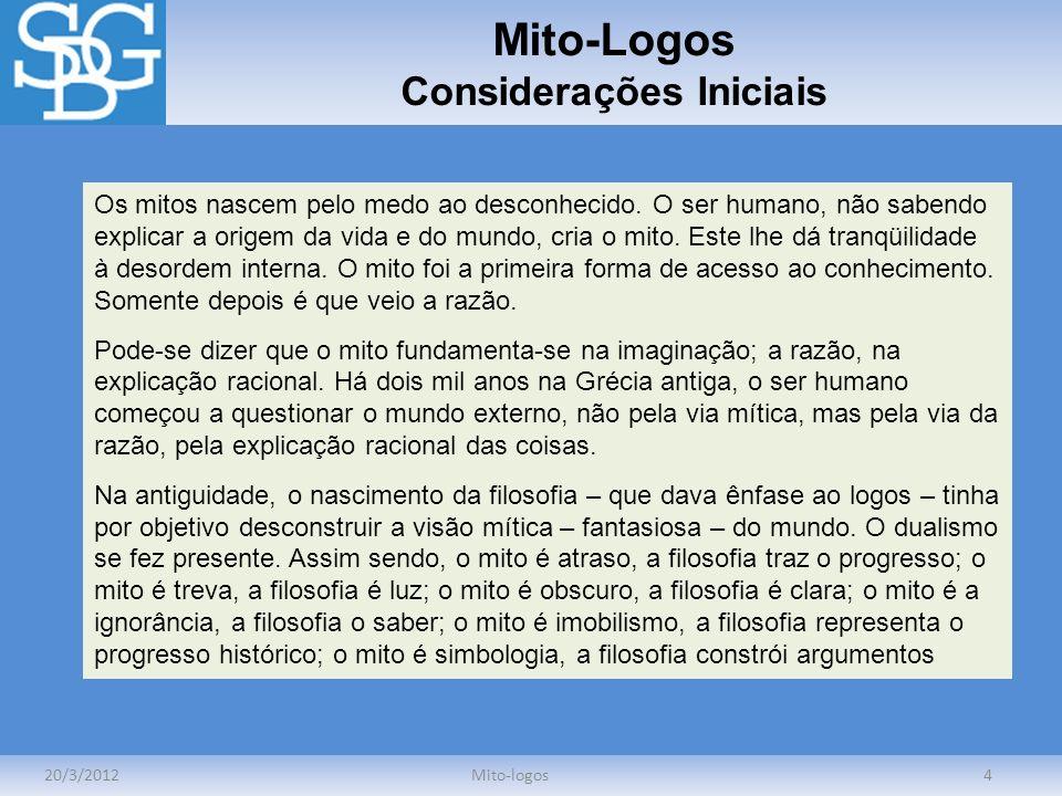 Mito-Logos Considerações Iniciais 20/3/2012Mito-logos4 Os mitos nascem pelo medo ao desconhecido. O ser humano, não sabendo explicar a origem da vida