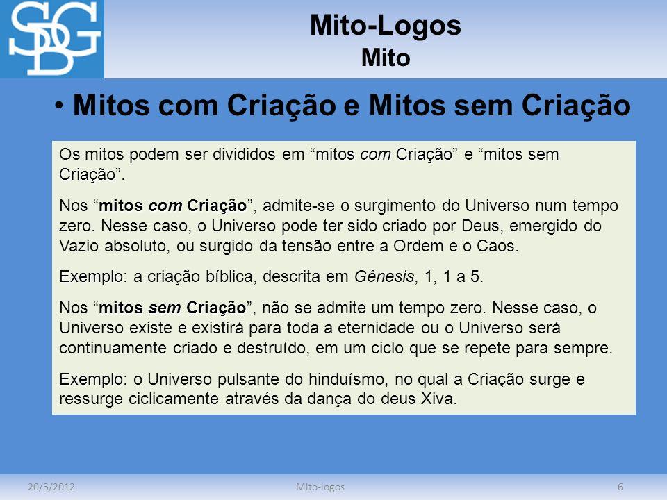 Mito-Logos Mito 20/3/2012Mito-logos6 Mitos com Criação e Mitos sem Criação mitos com Criaçãomitos sem Criação Os mitos podem ser divididos em mitos co
