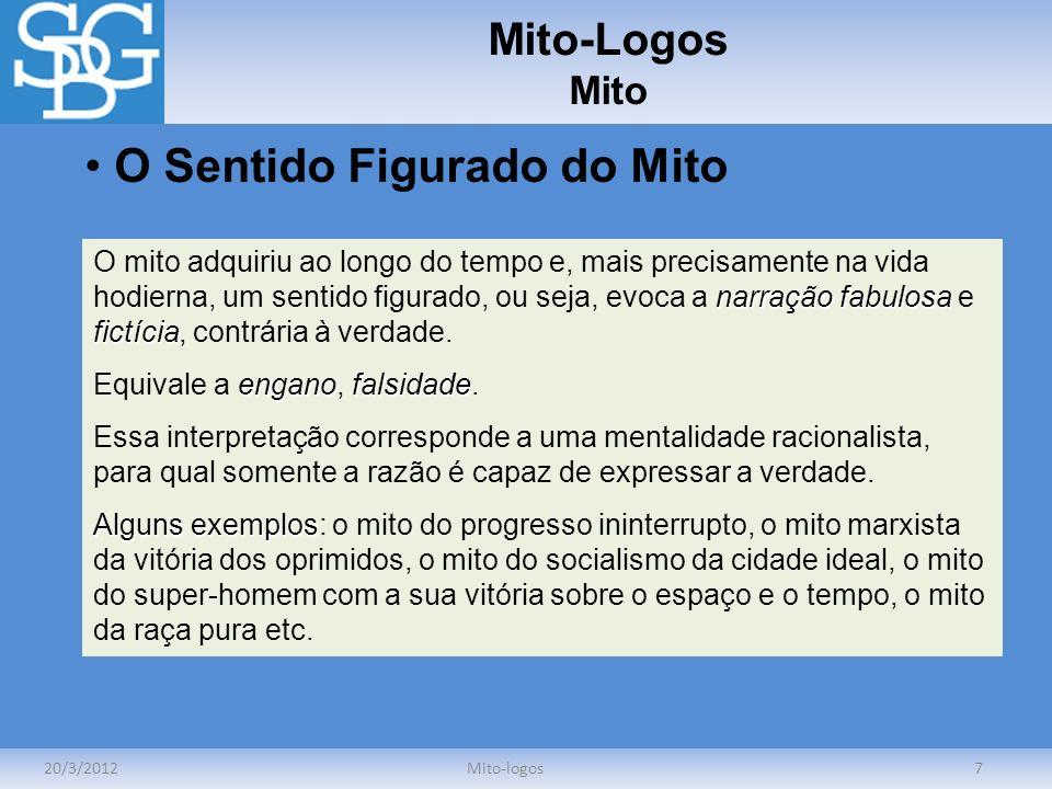 Mito-Logos Mito 20/3/2012Mito-logos7 O Sentido Figurado do Mito narração fabulosa fictícia O mito adquiriu ao longo do tempo e, mais precisamente na v