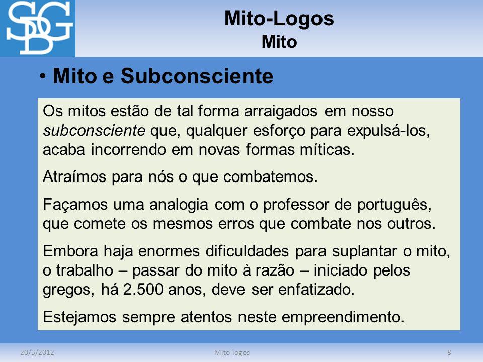 Mito-Logos Mito 20/3/2012Mito-logos8 Mito e Subconsciente subconsciente Os mitos estão de tal forma arraigados em nosso subconsciente que, qualquer es