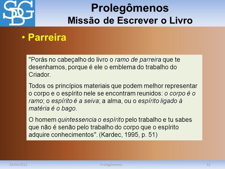 Prolegômenos Missão de Escrever o Livro 24/04/2012Prolegômenos12 ramo de parreira Porás no cabeçalho do livro o ramo de parreira que te desenhamos, porque é ele o emblema do trabalho do Criador.