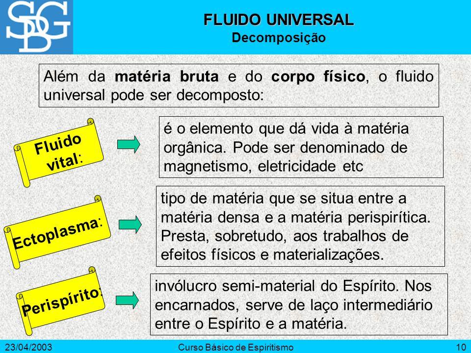 23/04/2003Curso Básico de Espiritismo10 Além da matéria bruta e do corpo físico, o fluido universal pode ser decomposto: Fluido vital: é o elemento qu