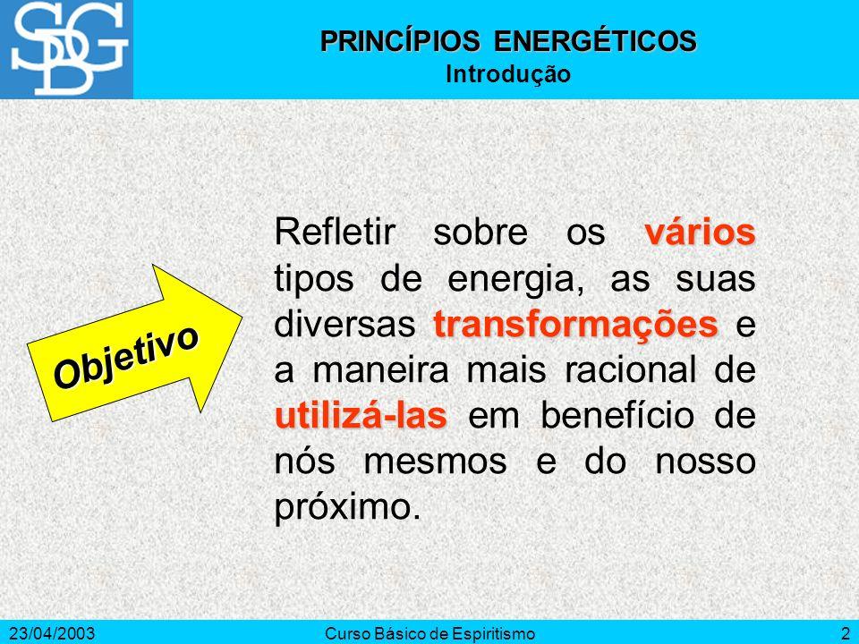 23/04/2003Curso Básico de Espiritismo2 vários transformações utilizá-las Refletir sobre os vários tipos de energia, as suas diversas transformações e