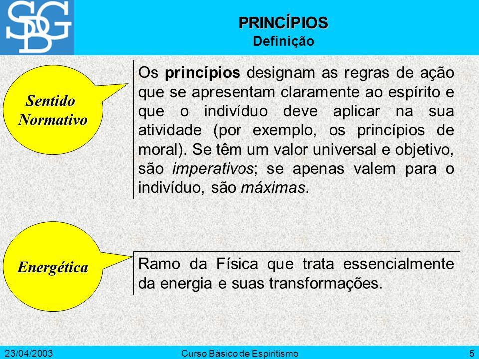 23/04/2003Curso Básico de Espiritismo5 Ramo da Física que trata essencialmente da energia e suas transformações. Energética Os princípios designam as