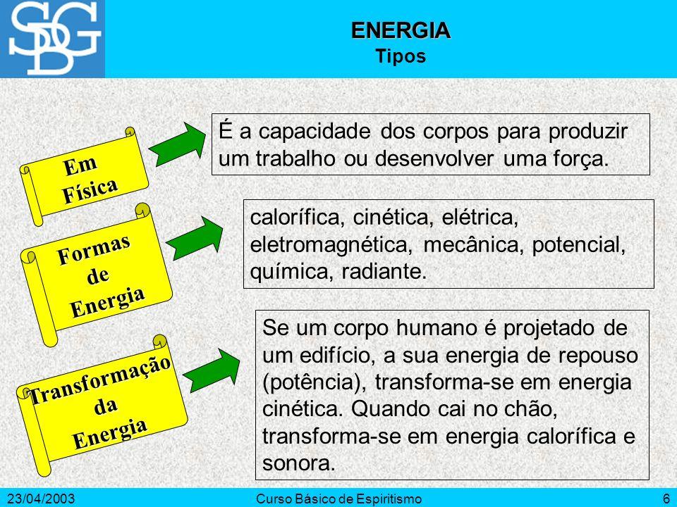 23/04/2003Curso Básico de Espiritismo6 EmFísica FormasdeEnergia calorífica, cinética, elétrica, eletromagnética, mecânica, potencial, química, radiant