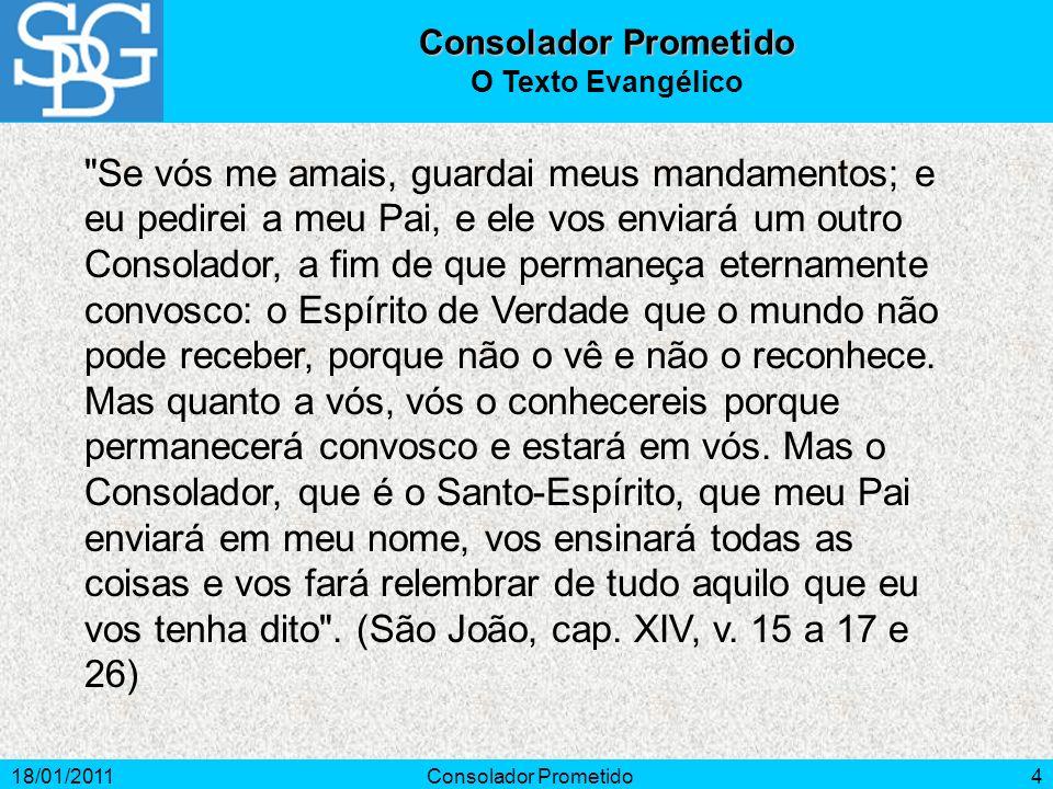 18/01/2011Consolador Prometido4 O Texto Evangélico