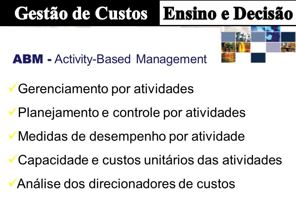 ABM - ABM - Activity-Based Management Gerenciamento por atividades Planejamento e controle por atividades Medidas de desempenho por atividade Capacidade e custos unitários das atividades Análise dos direcionadores de custos